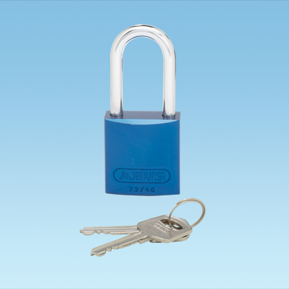 Anodized Aluminum Padlock - Long Shackle Blue