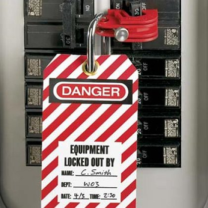 No-Tool I-Line Circuit Breaker Lockout Device - Locked and Tagged