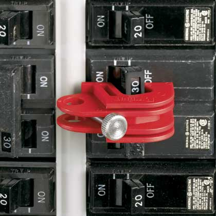 No-Tool Universal Circuit Breaker Lockout Device - Installed