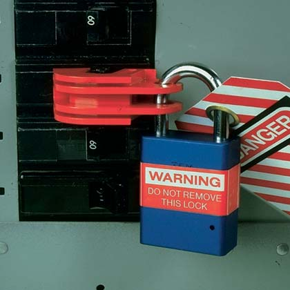Universal Circuit Breaker Lockout Device - Locked and Tagged
